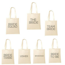 Printed in Black Wedding Party Bridal Tote Bags, Bridesmaid Favour Hen Party Bag