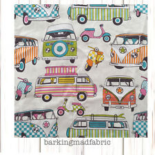 Campervan Fabric 100% Cotton Fabric Material FQ Metre 137cm Wide VW Cars Campers