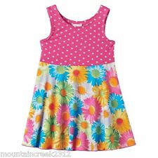 New YOUNGLAND Girl's Dress Size 12 18 24 months Polka Dot Floral Sleeveless Pink