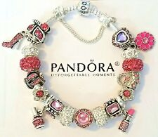 AUTHENTIC PANDORA Sterling Silver CHARM BRACELET with European Beads Charms #51