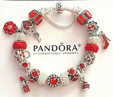 AUTHENTIC PANDORA Sterling Silver CHARM BRACELET with European Beads Charms #52
