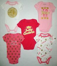 NEW JUICY COUTURE Newborn Baby GIRLS One Piece Snap Logo Bodysuit Top 0-3 Months
