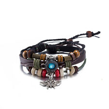Multilayer Leather Bracelet Alloy Butterfly Pendant Brown Weaving Rope Chain