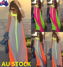 AU Summer Women Beach Sleeveless Maxi Dress Evening Party Long Dress Sundress