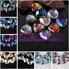 Bulk Wholesale 18mm Triangle Rondelle Faceted Crystal Glass Loose Spacer Beads