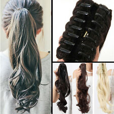 US Jaw Pony Tail Claw Clip in on Hair Extensions Long Thick as Human Ponytail Tr