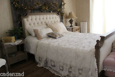 Shabby Chic Handmade Fairy Tale Lace hand Crocheted Cotton Bedspread, Bed Cover