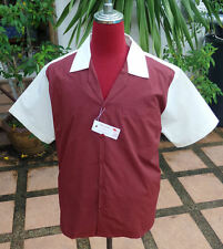 Handmade 1950's Style Vintage Mens Rockabilly Bowling Cream Burgundy Check shirt