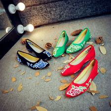 Women Embroidery Chinese Flower Casual Flats Slipper Slip On Muller Loafer Shoes