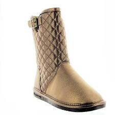 Bearpaw Women's Mid Calf Boots Sheepskin Wool Quilted Chocolate Bronze All Sizes