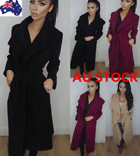 Women Long Sleeve Waterfall Belted Mid-calf Wool Lapel Coat Parka Jacket Outwear