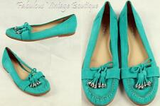 VIA SPIGA Aqua Green Suede Leather Flats Moccasin Loafer Shoes Silver Tassel 9.5