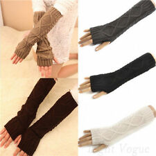 Fashion Womens Men Arm Warmer Long Fingerless Knit Mitten Winter Gloves ST22