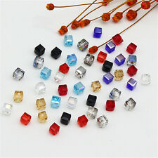 DIY Spacer Beads Glass Faceted Loose 4mm/6mm Cube 10Pcs Square Crystal