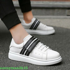 HOT Mens Casual Leather Breathable Athletic Sneakers Low Top Mixed Color Shoes