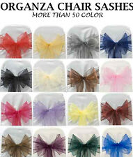 50 organza Chair Sash Bow / sashes Tie For Wedding Party Venue Decor chair bow