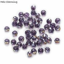 50 Piece Violet AB Crystal Glass Faceted Beads Rondelle Jewelry Making 4-8mm