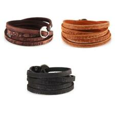 Unisex Vintage Knit PU Leather Bracelet Belt Multi Strap Bracelet Bangle