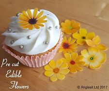 . PRE-CUT BEAUTIFUL YELLOW FLOWERS EDIBLE WAFER PAPER CUP CAKE TOPPER DECORATION