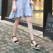 Women's synthetic leather espadrilles wedge heels ankle strap sandals black