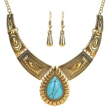 Vintage Women Gold Silver Turquoise Collar Choker Necklace Pendant Jewelry Chain