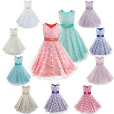Flower Girl Lace Dress Princess Pageant Graduation Birthday Party Ball Gown Prom