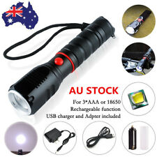 T6 LED Tactical Torch Lamp Rechargeable Zoomable Waterproof Military Flashlight
