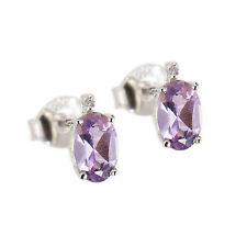 Sterling Silver Your Choice of Gemstone and White Diamond Stud Earring