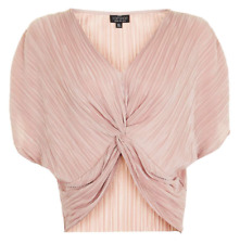 New Topshop Batwing Blush Nude Textured Twist Knot Front Summer Top RRP £24 4-14