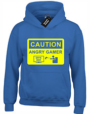 CAUTION ANGRY GAMER KIDS CHILDRENS HOODY HOODIE FUNNY GAMING GIFT XBOX PS4 TOP