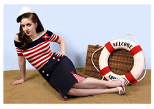 NEW ROCKABILLY 1950s WIGGLE SKIRT, Nautical Vintage Retro Burlesque Pencil Skirt