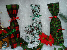 Christmas Holiday Winter Theme Fabric Wine Bottle Gift Treat Bags w/Tie-Handmade