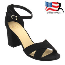 Contemporary Women's Criss Cross Buckle Ankle Strap Wrapped Heel Sandal Black