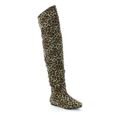 Chic Women's Slouchy Over The Knee High Boots Half Size Small Leopard