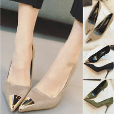 Fashion Women Suede Metal Pointed-toe Shoes Sexy Office Lady Stiletto High Heels