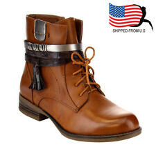 Chic Women Strappy Tassel Lace Up Side Zip Low Stacked Ankle Bootie Camel