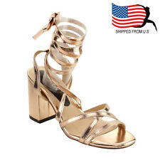 Contemporary Women's Criss Cross Strappy Leg Wrap Chunky Heel Sandals Rose Gold