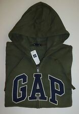 Mens GAP LOGO GREEN ZIP UP HOODIE JACKET SWEATSHIRT Sizes S, M, L, XL, 2XL - NWT
