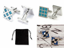 Stylish Square Enamel Vintage Blue Silver Checker Cuff-link + Free Storage Pouch