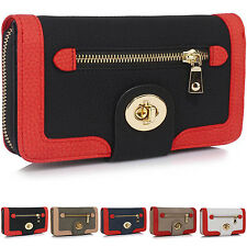 Large Multi Twist Lock Women Wallet Grained PU Leather Ladies Girls Coin Purses