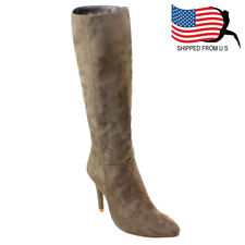 Contemporary Women Side Zipper Stiletto Quilted Under The Knee High Boots Taupe