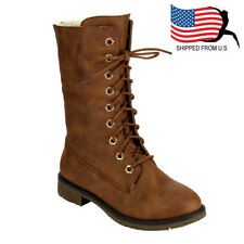 Chic Women Classic Lace Up Lug Sole Stacked Heel Mid-Calf Combat Boot Tan