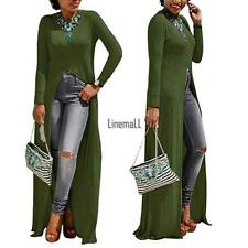 Women Sexy Long Sleeve Solid O Neck Front Split Clubwear Party Maxi LM