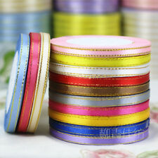 """25 Yards 6mm (1/4"""") 22 Meters Single Sided Gold Edge Satin Ribbons Gift Crafts"""