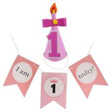 Baby 1st Birthday Party Cone Hat+I AM 1 TODAY Chair Banner Party Decoration