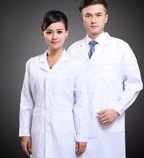 Mens Womens White Lab Coat Scrub Medical Doctor's New Lapel Collar  Jacket