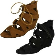 Ladies Spot On Lace Up Wedge Sandals