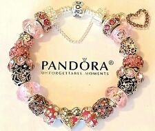 Authentic PANDORA Sterling Silver BRACELET with20 European Charms & Beads #54