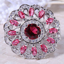 925 Silver 5ct Ruby&Pink Sapphire Women Jewelry Ring Wedding Engagement Size6-10