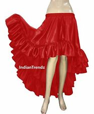 Red - Belly Dance Satin Flamenco Skirts Ruffle Asym Gypsy Jupe Tiered Rok Hoho